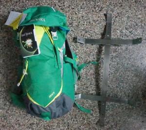 Rucksack und Halterung