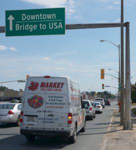 Sault Ste. Marie, Ontario.Nur wenige Meter in die USA