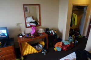Typischer Zimmerzustand. Hotel Clarion, Sudbury, Ontario