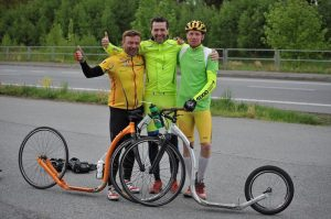 Etapák 2014. Guido im Team Finland! Mit Hannu Vierikko (Mister Kickbike) und Alpo Kuusisto (Lebende Legende)
